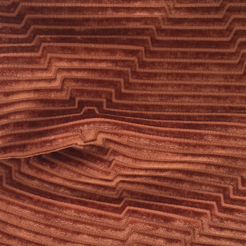 Fitzgerald, Rust - A stunning rust velvet fabric with a lush hand but sharp design.