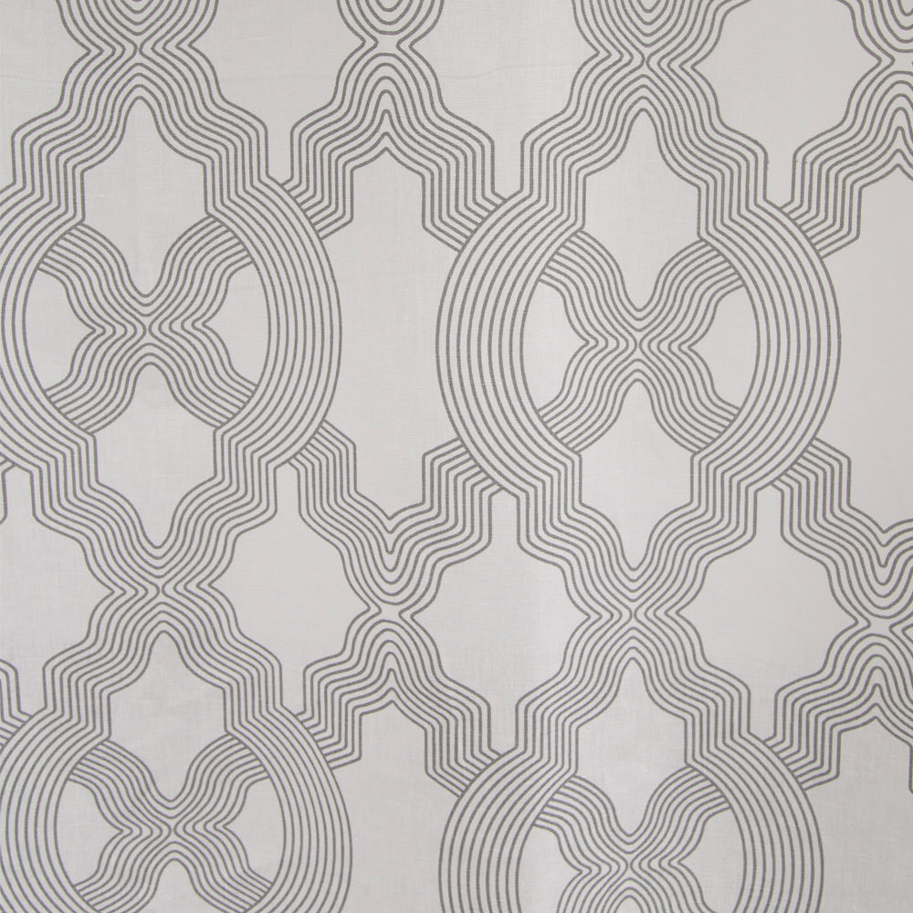 grey and white geometric art deco linen drapery fabric