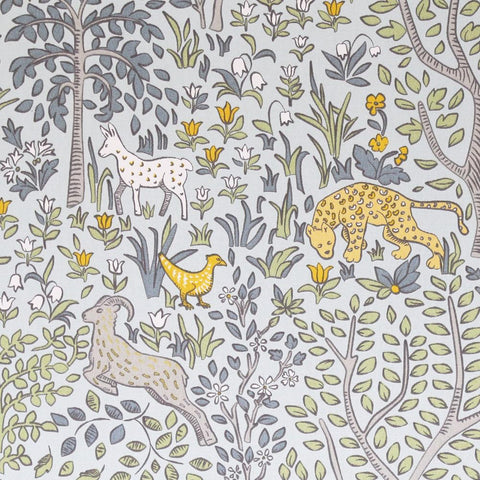 Folkworld, Aquatint - This charming animal print makes for the perfect and most adorable, gender-neutral nursery fabric.