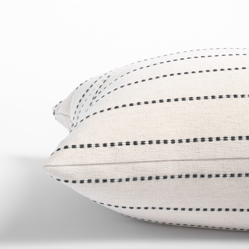 Cream and black stripe pillow: side view