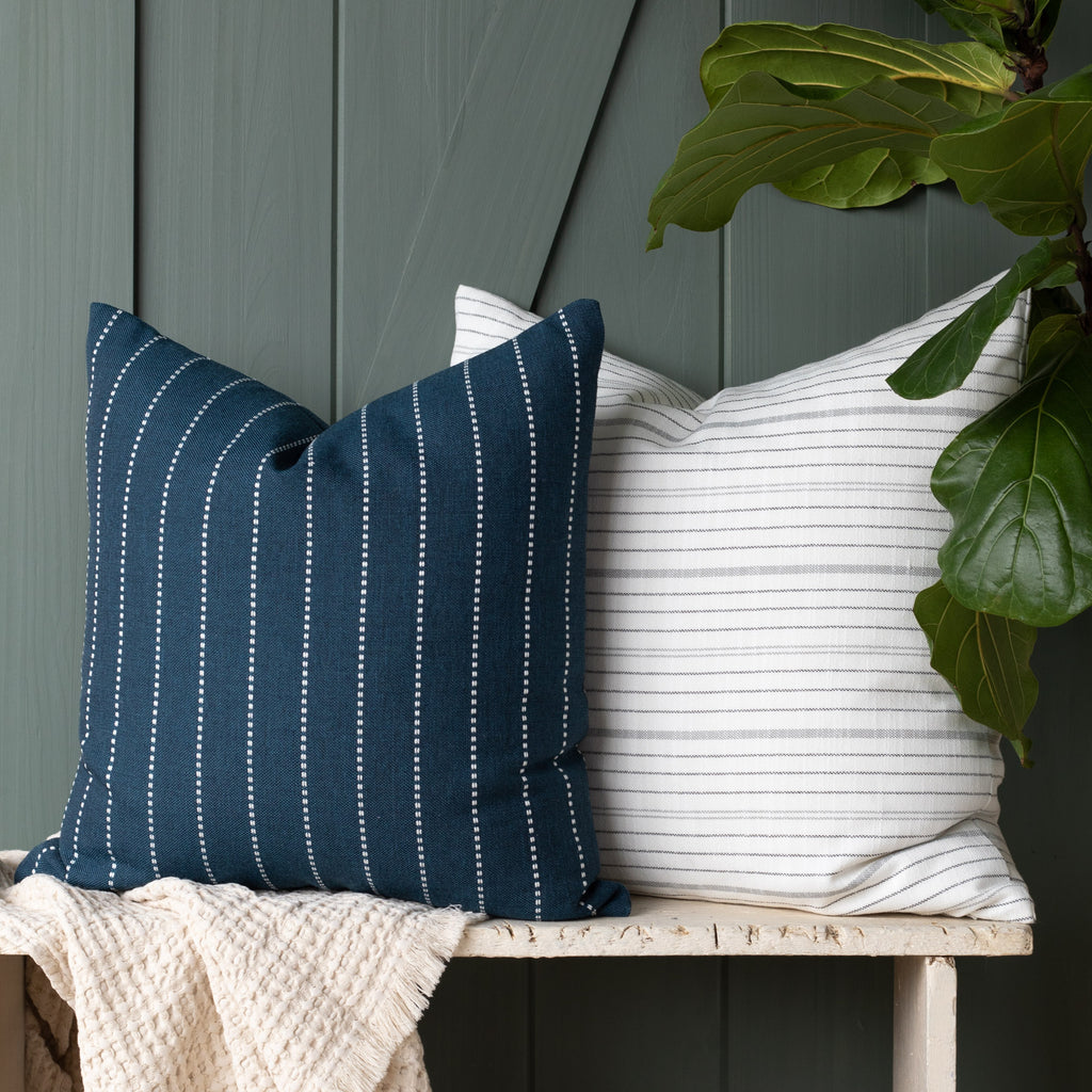 Outdoor pillow combination: Fontana Navy and Olcott Graphite pillows