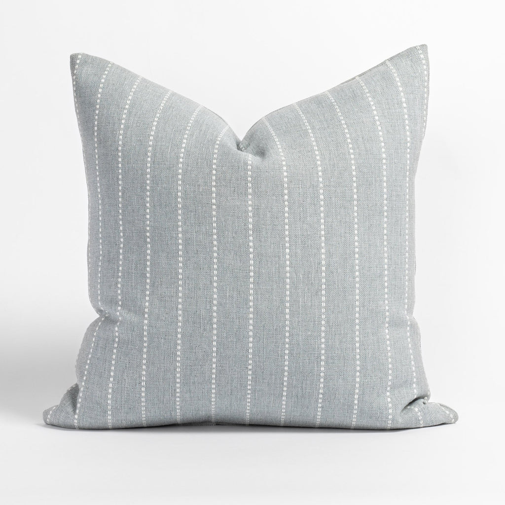 Fontana Cloud 20x20 pillow, a pale blue gray and white vertical stripe indoor outdoor pillow from Tonic Living