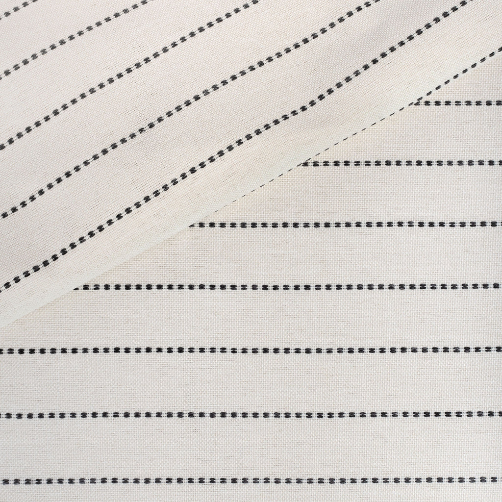 Fontana Graphite, a cream and black horizontal stripe indoor outdoor fabric