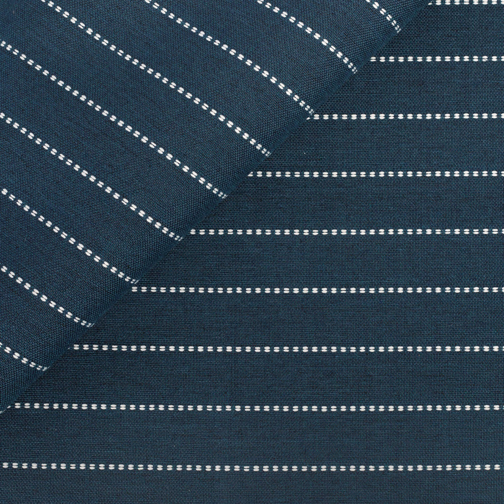 Fontana navy blue and white horizontal stripe indoor outdoor fabric from Tonic Living