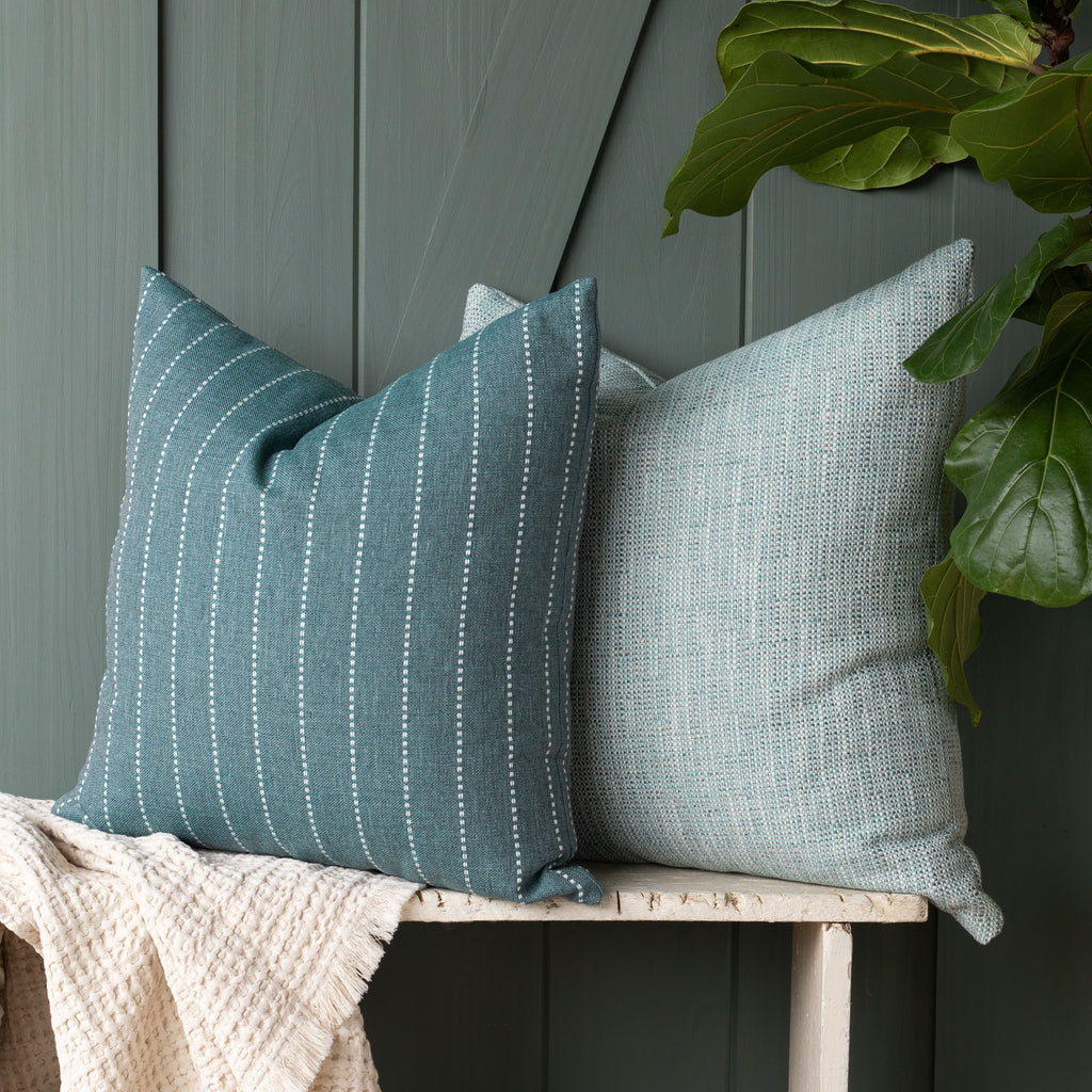 Outdoor pillow combination: Fontana Water and Felix Pool pillows