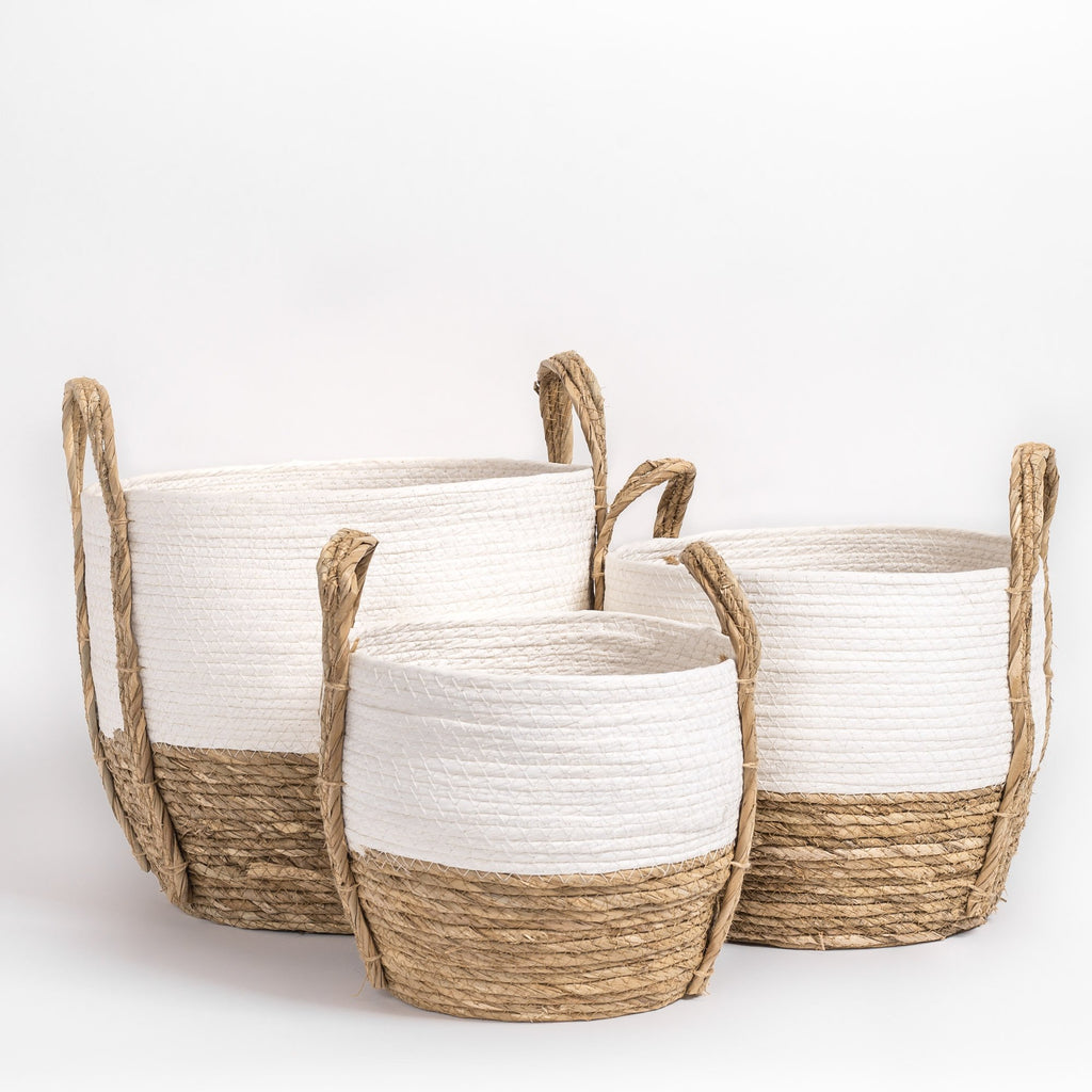 Fortaleza Basket Set of 3, White