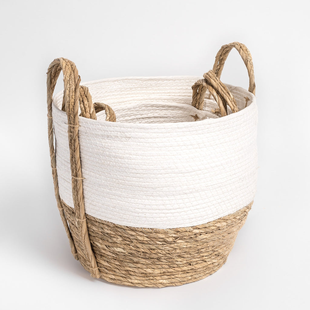 White and natural straw nesting basket set