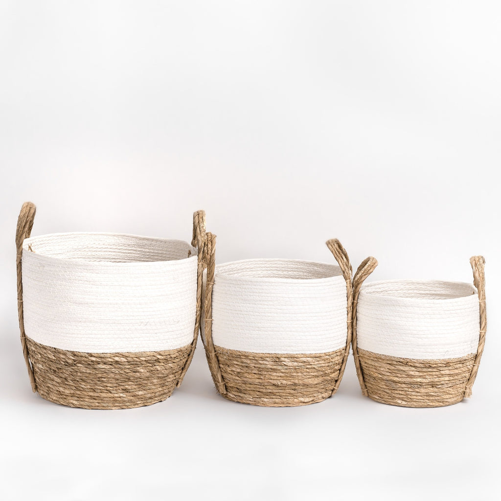 White and natural nesting basket set