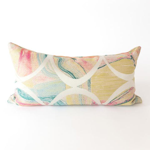 Frankie, Electric colorful marbleized lumbar pillow from Tonic Living