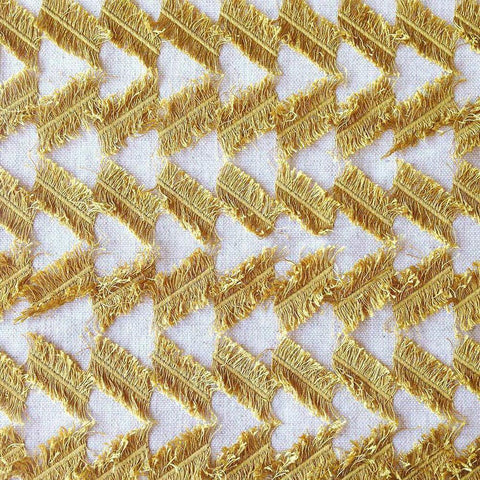 Fringe Benefits, Lemongrass - Tonic Living Fabric from Genevieve Gorder in warm gold yellow on a natural linen base