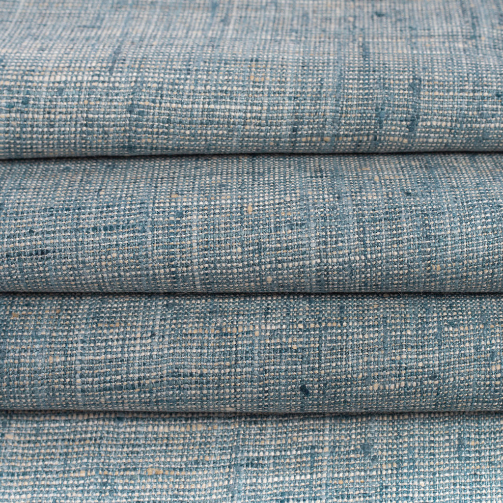 blue and beige slubby weave drapery and upholstery fabric