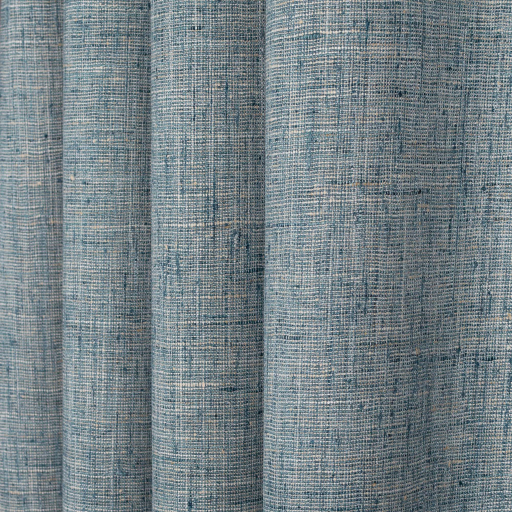 blue and flax textured woven drapery and upholstery fabric