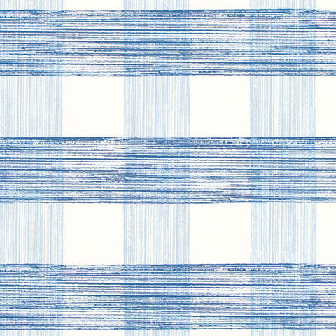 Georgica Pond, Ocean - A larger scale gingham check pattern in ocean and sky blue on an off-white background.