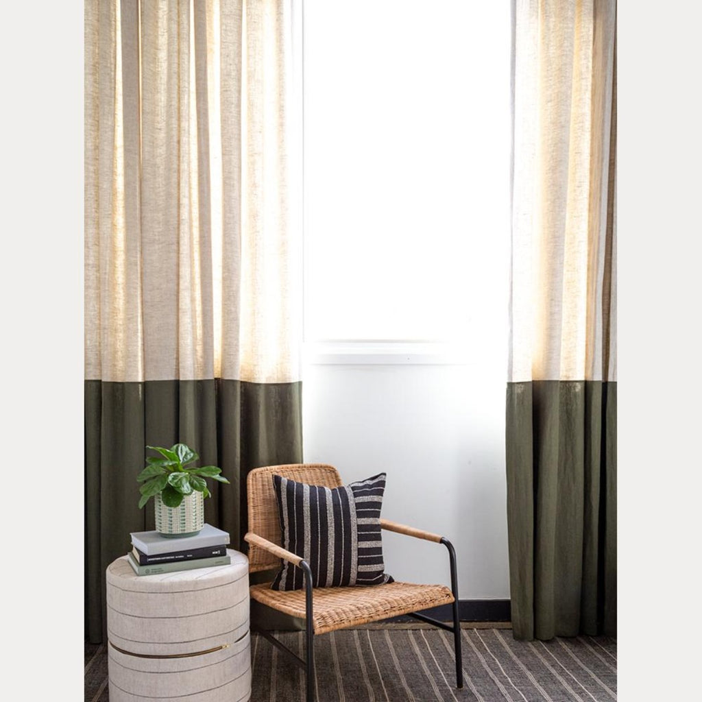 Tuscany Linen Oatmeal and Tuscany Linen Moss drapes from Tonic Living