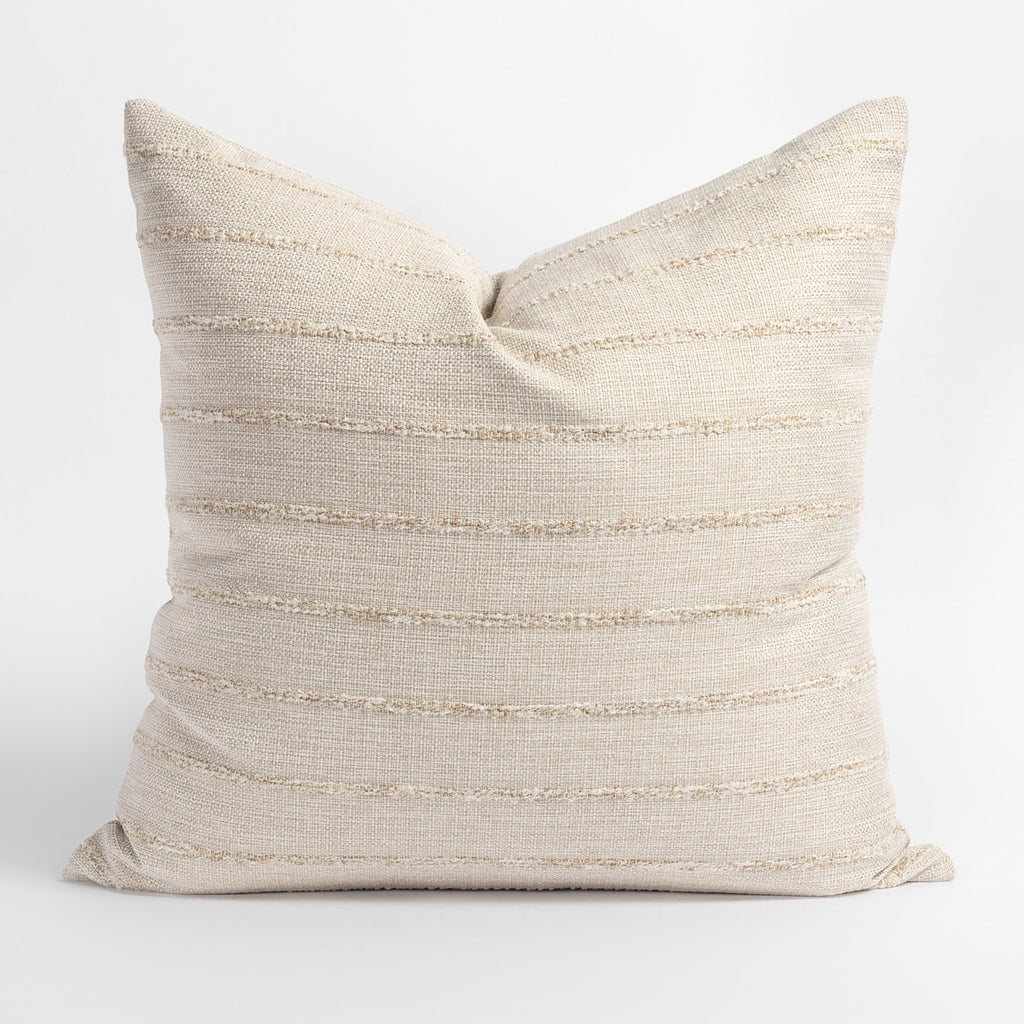Handlavet Raffia Pillow, a creamy straw toned pillow with tonal chunky horizontal stripe from Tonic Living
