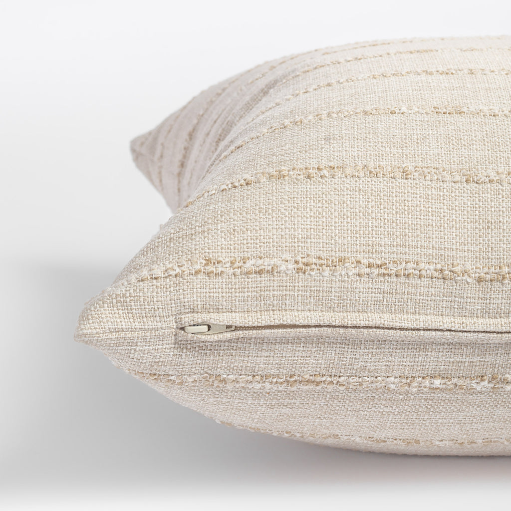 creamy beige textured stripe pillow zipper detail