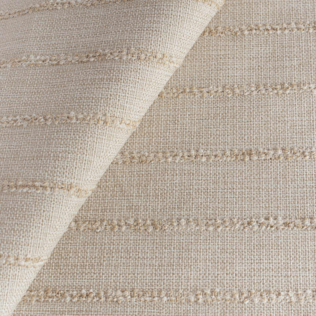 a warm creamy straw toned upholstery fabric with a chunky tonal stripe