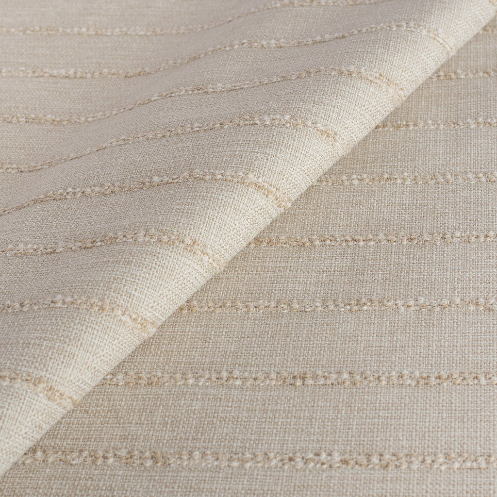 a cream color tonal horizontal textured stripe performance upholstery fabric