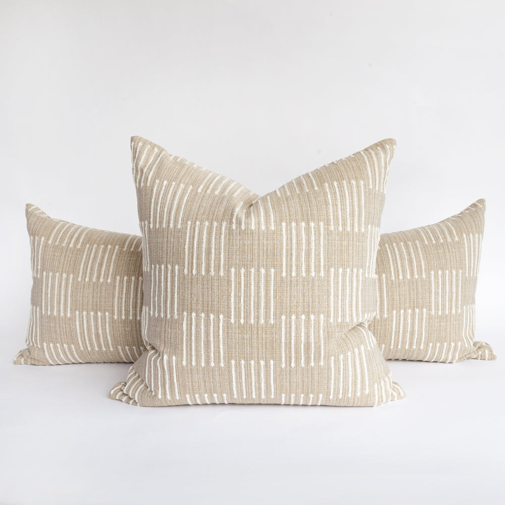 Harlow Burlap, a beige and ivory graphic pillow from Tonic Living