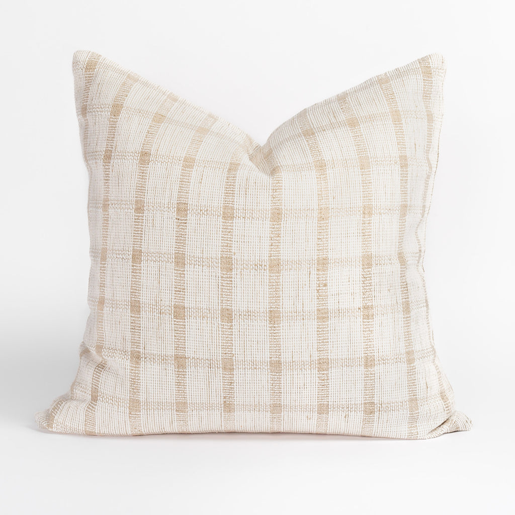 Harriet white and beige plaid check pillow from Tonic Living