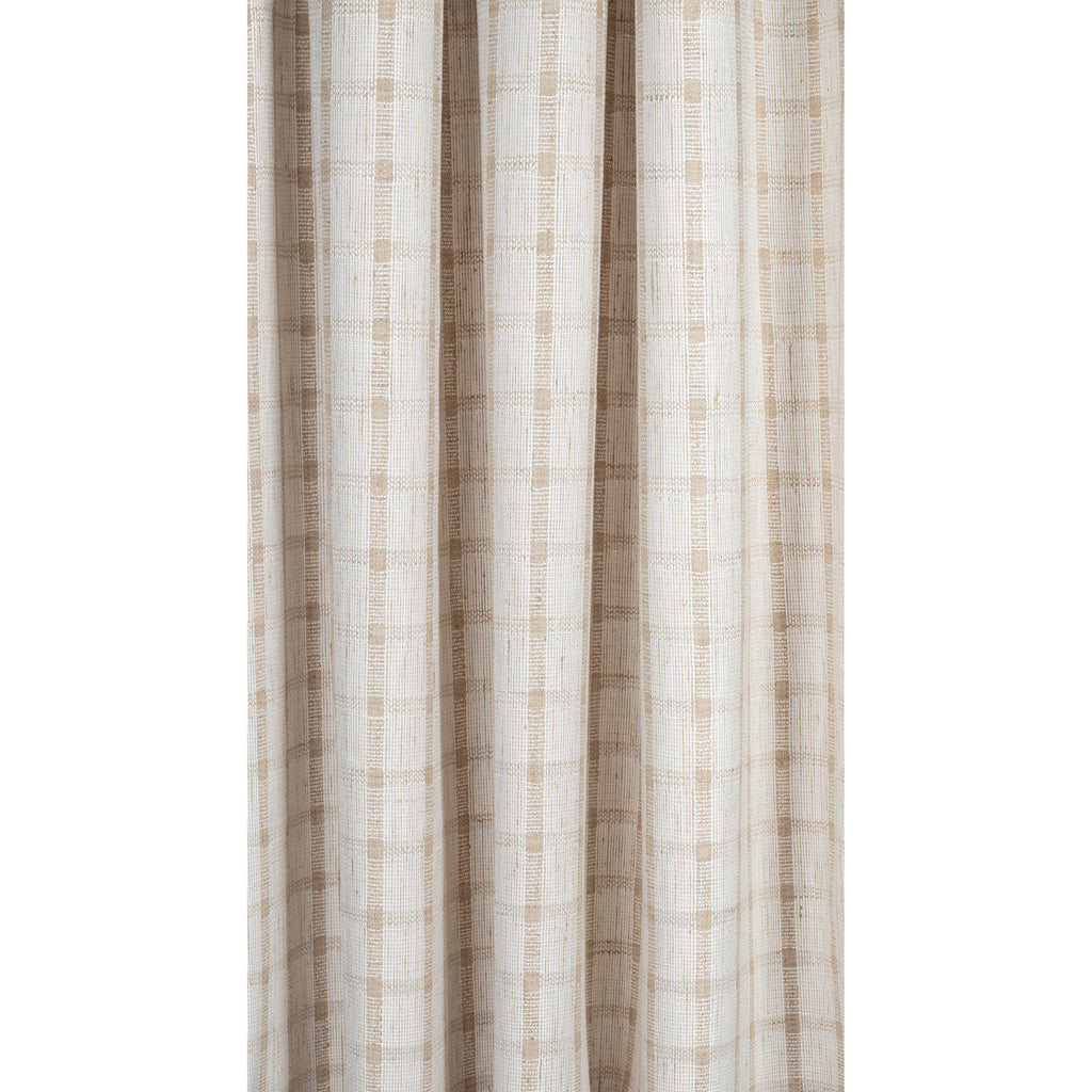 ivory white and flax beige plaid check drapery fabric