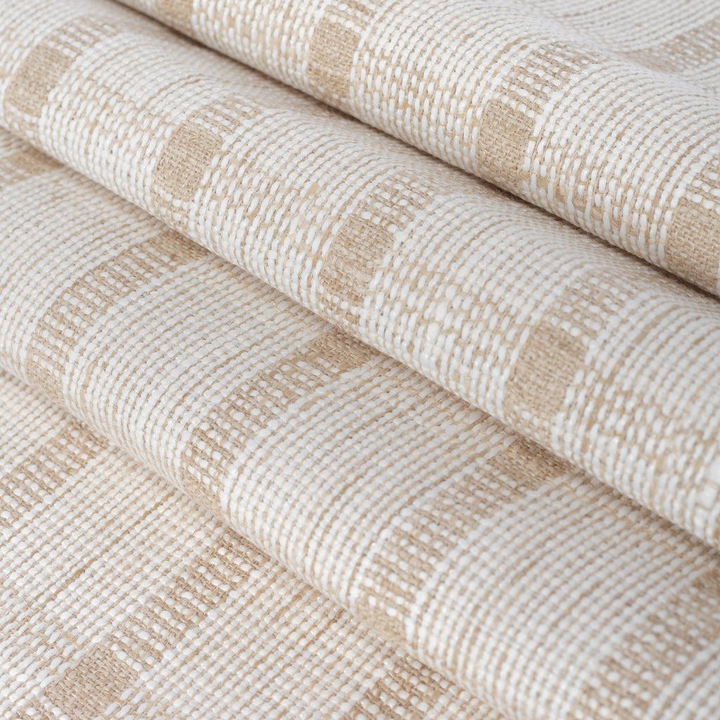 white and beige plaid home decor fabric