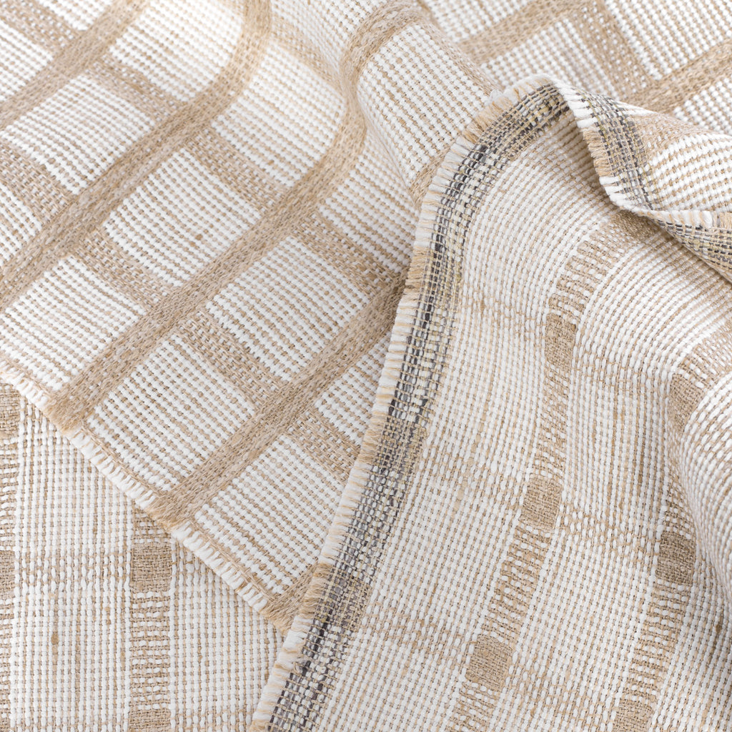 ivory and flax plaid check drapery and upholstery fabric