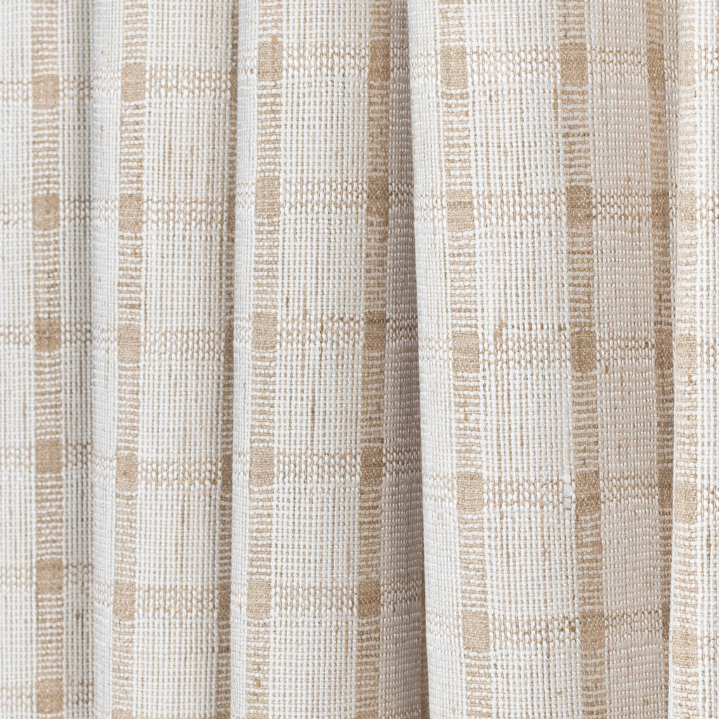 ivory white and beige plaid check drapery and upholstery fabric
