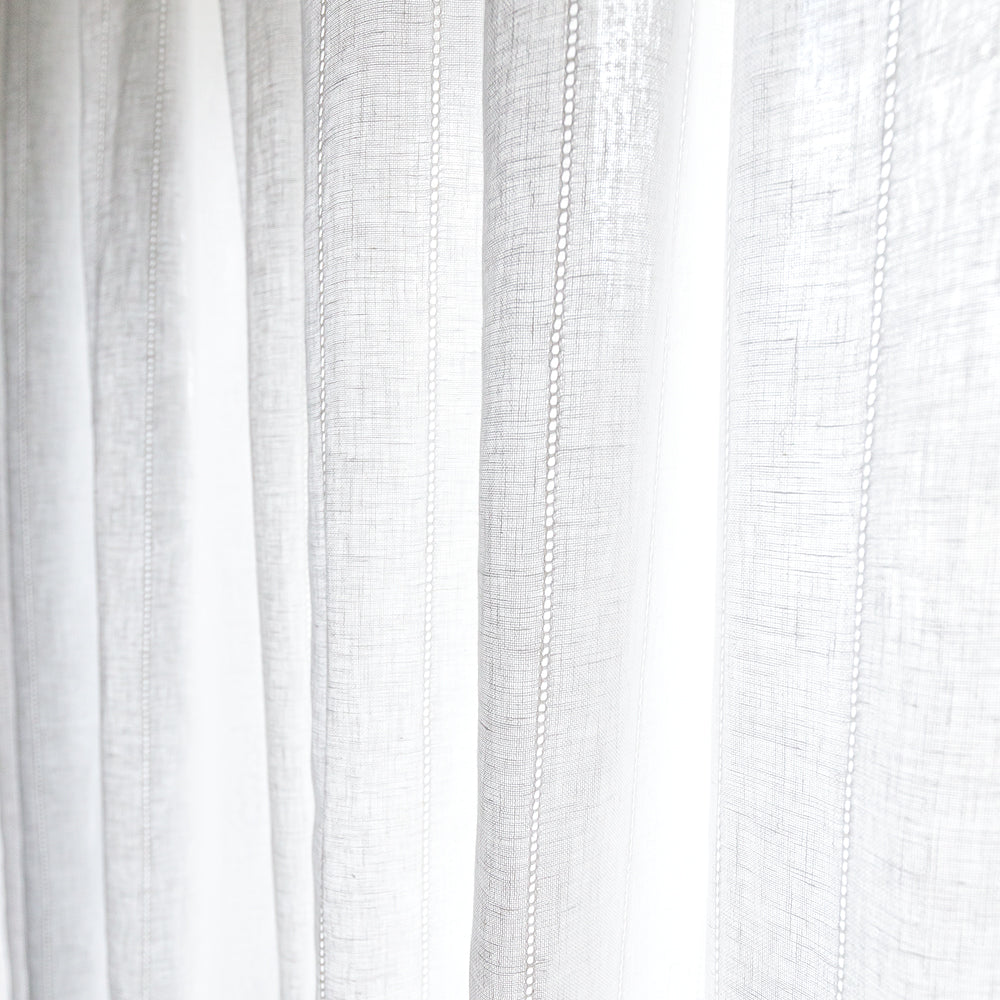 Ida Embroidered Sheer Fabric, Cloud White