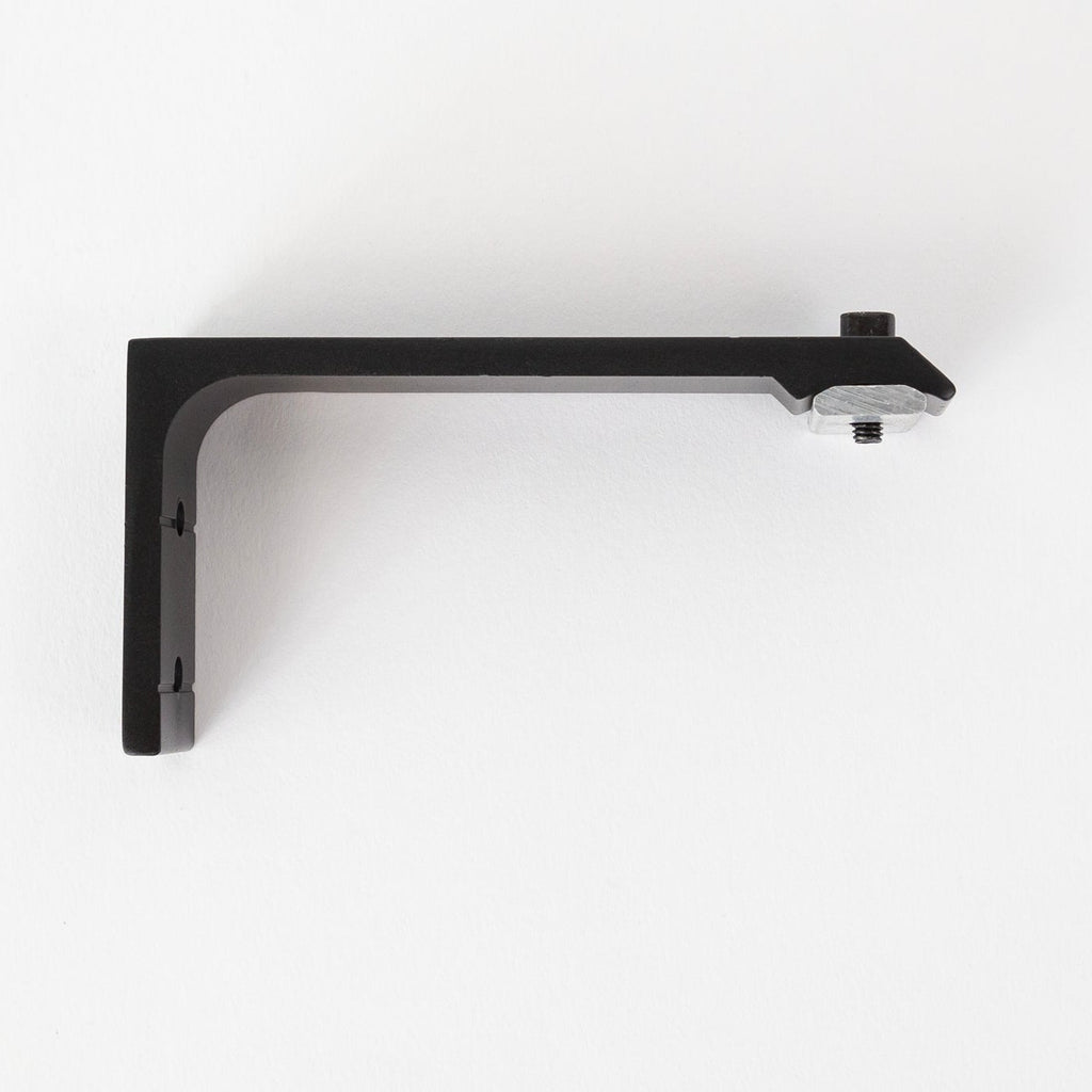 Channel Track Wall Bracket Flat, a sturdy, minimal black wall bracket for channel track drapery rods