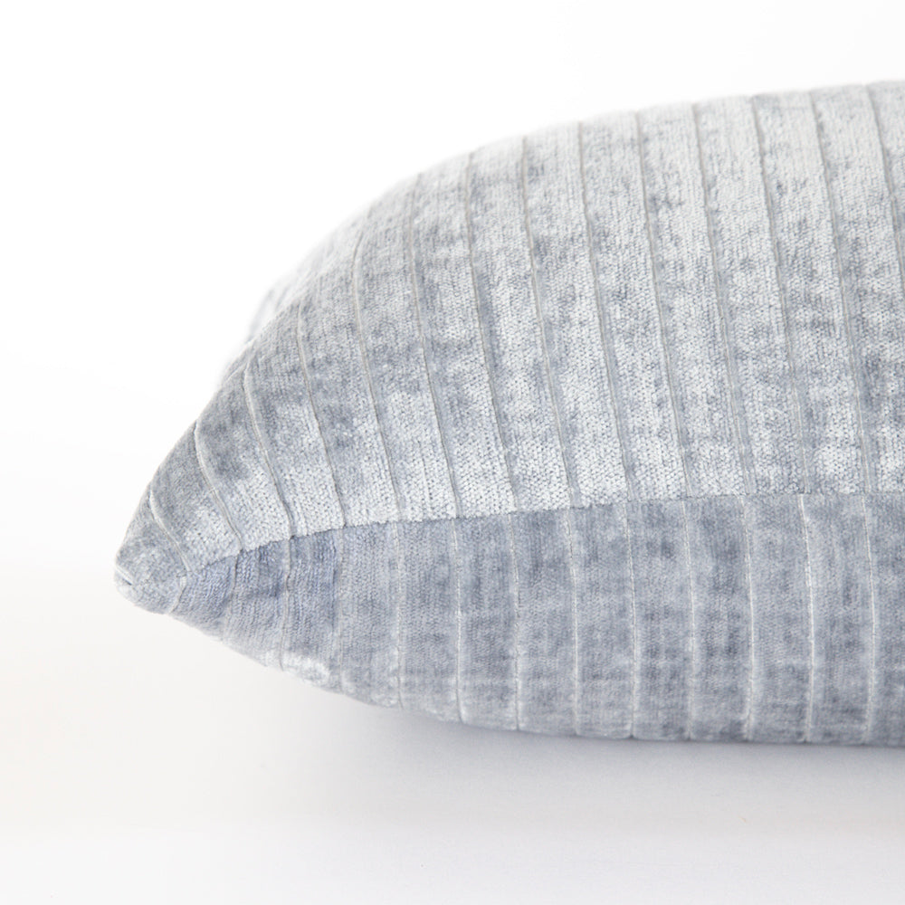Iona Channel Velvet 12x24 Lumbar Pillow, Blue Smoke