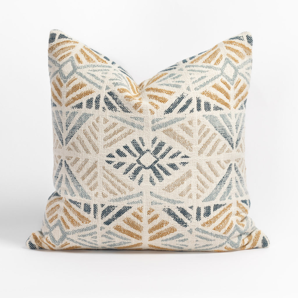 Isla Laguna blue, yellow and beige geometric pattern indoor outdoor pillow from Tonic Living