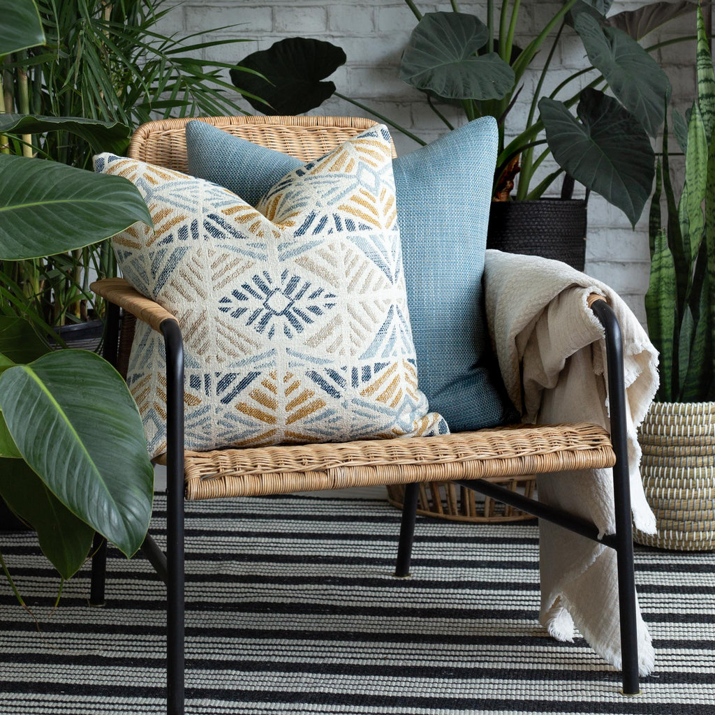 indoor outdoor vignette: Isla laguna pillow and Felix Pool