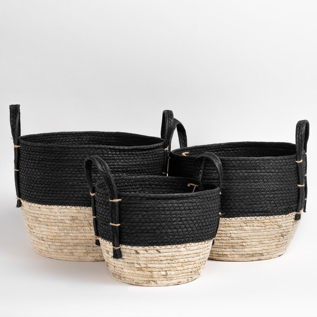 Jiji Basket Set of 3, Black & Cream