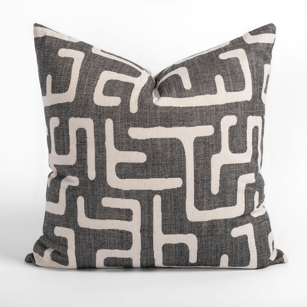 Karru charcoal gray and beige abstract print pillow from Tonic Living