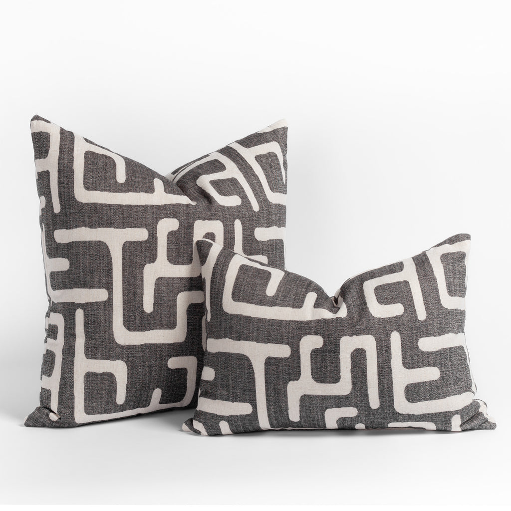 Karru charcoal grey and beige abstract print pillows in two sizes from Tonic Living