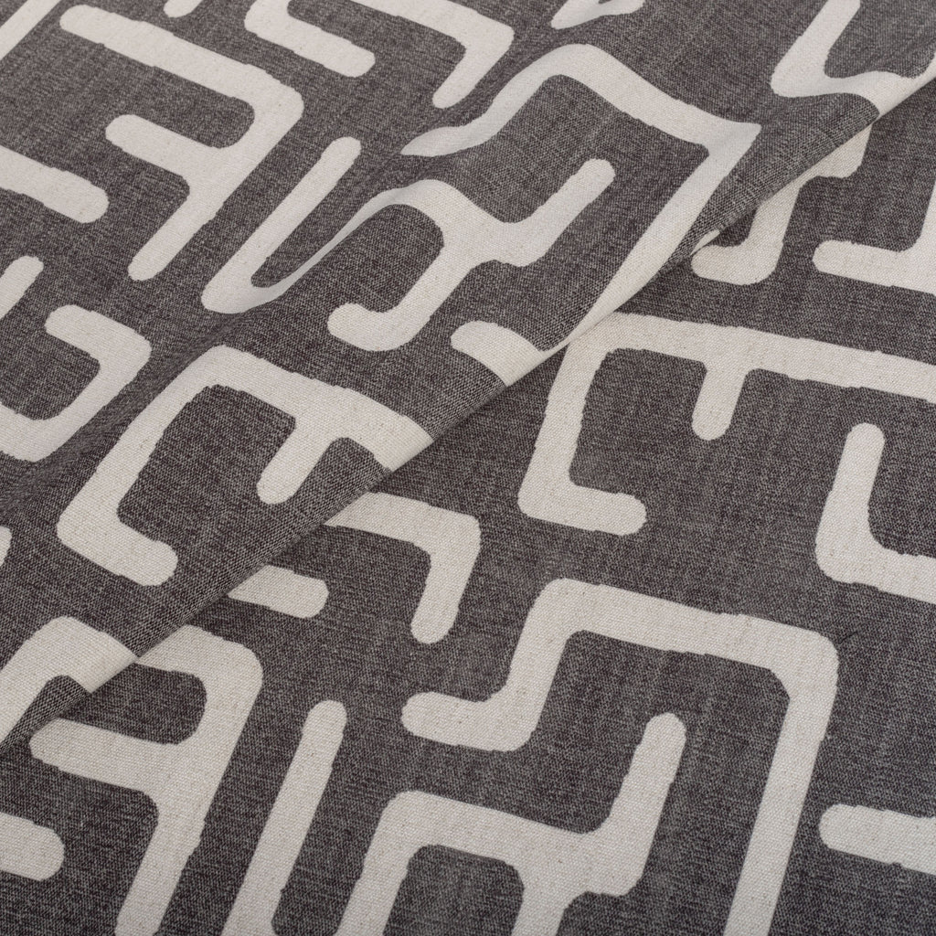 Karru charcoal gray and beige block print fabric from Tonic Living