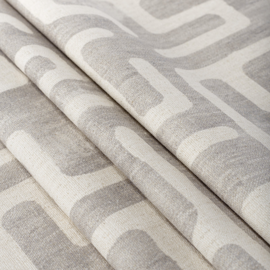 light grey and beige block print home decor fabric