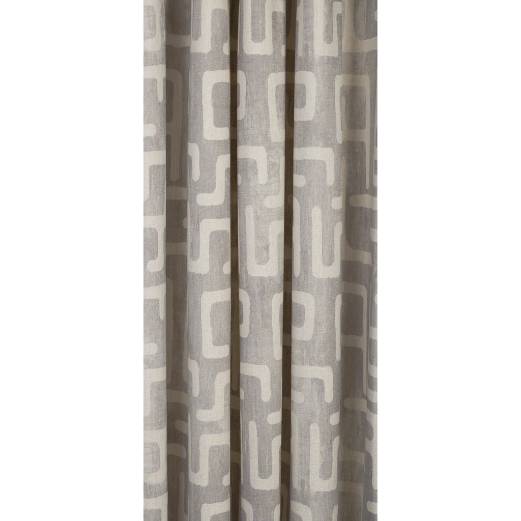 karru light grey and beige kuba inspired print drapery fabric