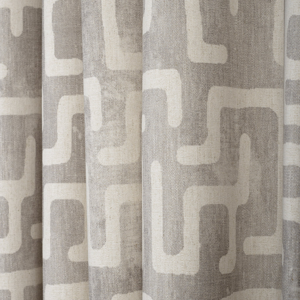 silver grey and beige kuba inspired print fabric