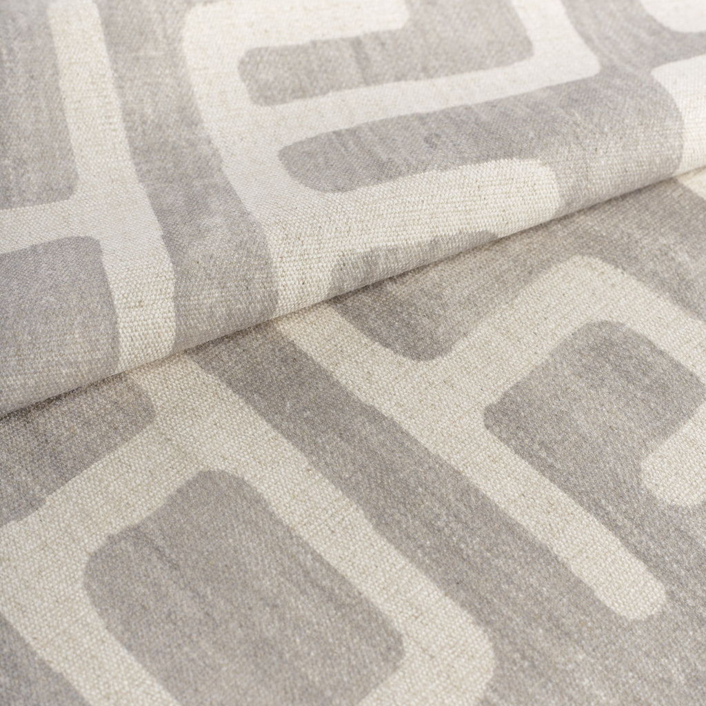 dove gray and beige graphic block print fabric