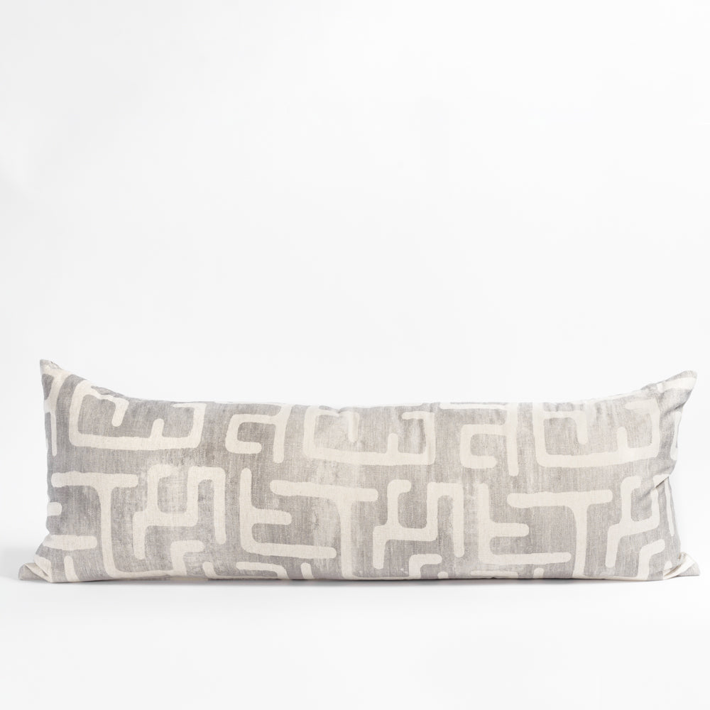 Karru silver gray long bolster bed pillow from Tonic Living