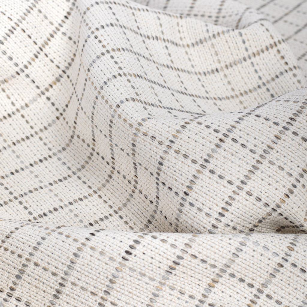 Keely Check Birch, a cream and greige texture stitched windowpane pattern upholstery fabric from Tonic Living