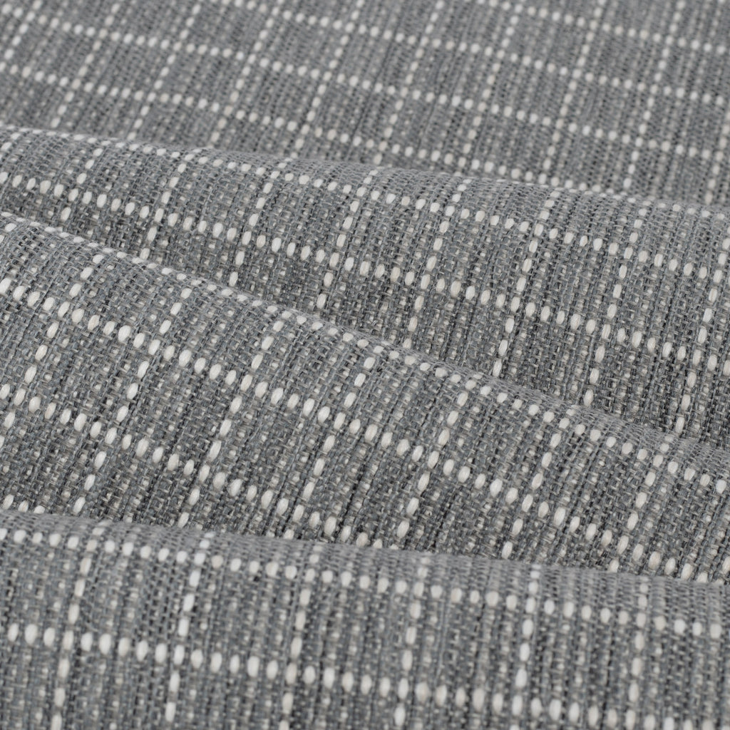 Keely Check stone grey and off-white texture stitched windowpane pattern upholstery fabric : view 5 close up