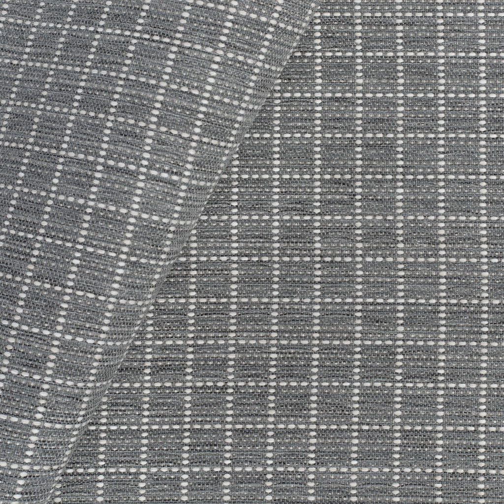 Keely Check stone grey and off-white texture stitched windowpane pattern upholstery fabric : view 2