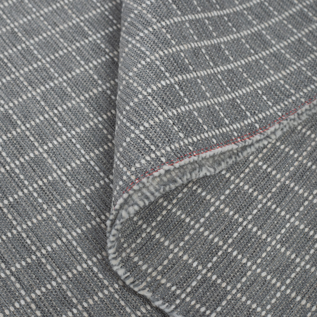 Keely Check stone grey and off-white texture stitched windowpane pattern upholstery fabric : view 3
