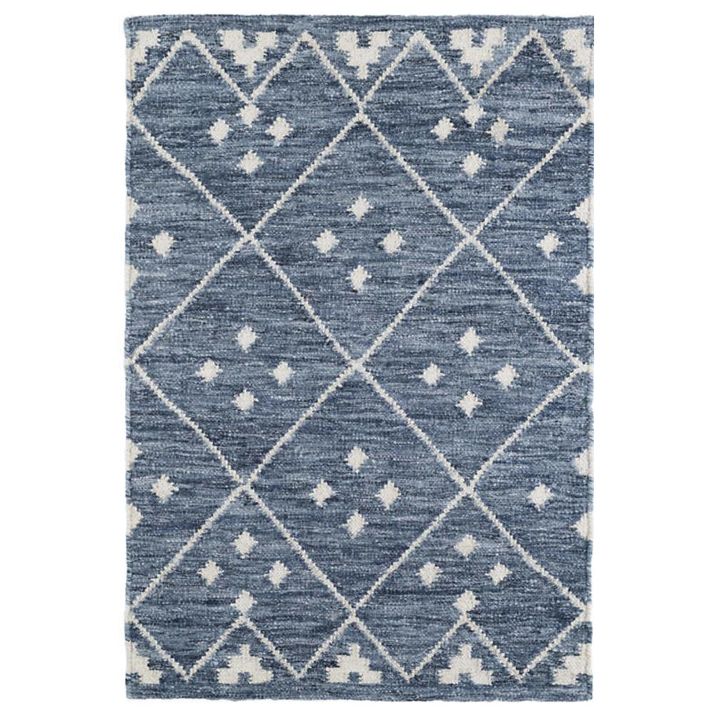 Kota, a blue and cream diamond pattern  Dash and Albert rug at Tonic Living
