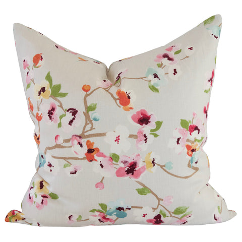 Kyoto Bloom, Spring - A gorgeous, cherry blossom pillow in the softest pale grey, aqua-mint, cherry stain pink, blood orange, golden yellow, leaf green, garnet red and cream.