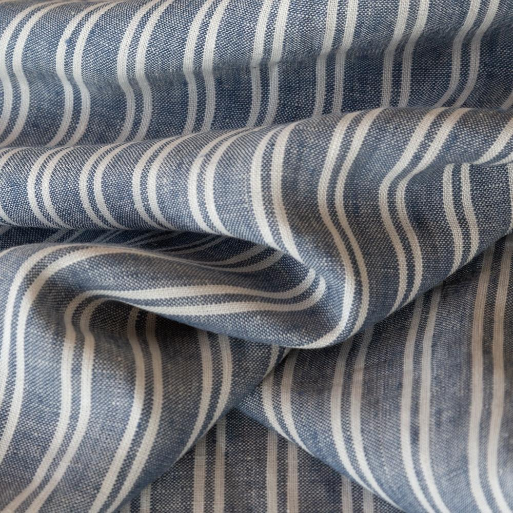 Lita blue and white stripe linen fabric from Tonic Living