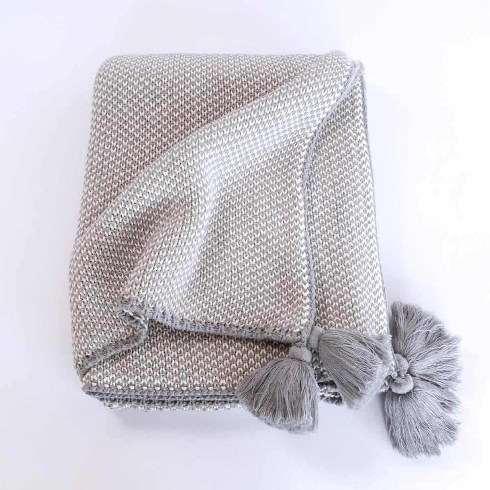 Lottie soft gray tassel throw blanket from Tonic Living